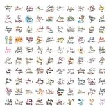 De reeks van vectorhand trekt het van letters voorzien De inkt trekt illustratie voor prentbriefkaar, groetkaart en banner vector illustratie