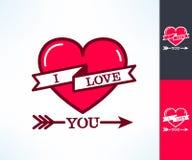 De reeks van vectori-liefde u hipster ontwerpt met lint, hart en pijlen Liefde en Romaans ontwerpelement Stock Afbeelding