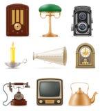 De reeks van veel heeft retro oude uitstekende vector van de pictogrammenvoorraad illustr bezwaar Royalty-vrije Stock Foto's