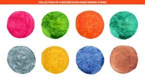 De reeks van 8 veelkleurige getrokken waterverfhand omcirkelt achtergrond voor embleem, embleem royalty-vrije stock afbeelding