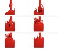 De reeks van verfstroom vult een container op Royalty-vrije Stock Afbeelding