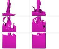 De reeks van verfstroom vult een container op Stock Afbeelding
