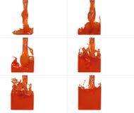 De reeks van verfstroom vult een container op Stock Foto