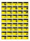 De reeks van verplicht teken, gevaarteken, belemmerde teken, bedrijfsveiligheid en gezondheidssignaleringen, waarschuwend uithang royalty-vrije illustratie