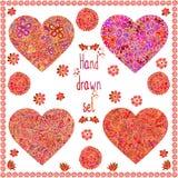De reeks van vier overhandigt getrokken harten met bloemenkader Stock Foto