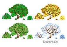 De reeks van de vier seizoenen vectorillustratie vector illustratie