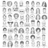 De reeks van vijftig overhandigt getrokken diverse gezichten royalty-vrije illustratie