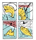 De reeks van de visserijaffiche Royalty-vrije Stock Foto's