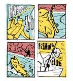 De reeks van de visserijaffiche Stock Foto's