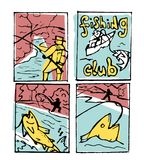De reeks van de visserijaffiche Stock Afbeeldingen