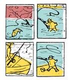 De reeks van de visserijaffiche Royalty-vrije Stock Afbeeldingen