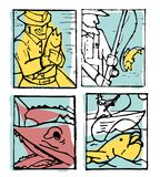 De reeks van de visserijaffiche Stock Foto