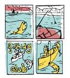 De reeks van de visserijaffiche Royalty-vrije Stock Afbeelding