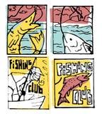 De reeks van de visserijaffiche Stock Fotografie