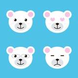 De reeks van vlak ontwerp polair wit draagt glimlachen Verschillende gelaatsuitdrukkingen Stock Fotografie