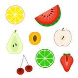 De reeks van vlakte cuted fruitpictogrammen Stock Afbeeldingen