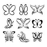 De reeks van vlinder silhouetteert vectorllustration Stock Fotografie