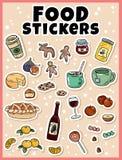 De reeks van de voedselsticker Stickers, spelden, flarden en etiketteninzameling in beeldverhaal grappige stijl royalty-vrije illustratie