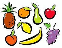 De reeks van vruchten pictogrammen Stock Foto's