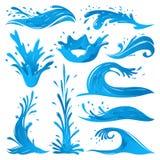 De reeks van water bespat van de de vonkenbreker van de golf de draai geïsoleerde schommeling blauwe vectorillustratie stock illustratie