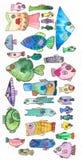 De reeks van Watercolourvissen, groot ontwerp voor om het even welke doeleinden stock illustratie