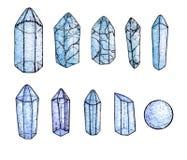 De reeks van waterverf en inkthand schilderde blauwe geïsoleerde gemmen en kristallen Stock Afbeelding