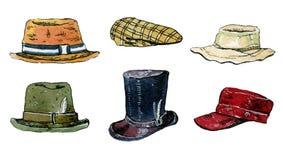De reeks van de waterverfillustratie geïsoleerde hoeden en kappen Stock Fotografie