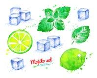 De reeks van de waterverfillustratie Mojito-ingrediënten vector illustratie