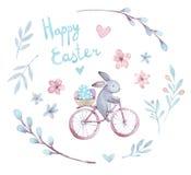 De reeks van waterverfpasen Beeldverhaalkonijn, bloemen, harten, fiets, eieren vector illustratie