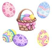 De reeks van waterverfpasen, Pasen-mand, gekleurde die eieren, op een witte achtergrond worden geïsoleerd, Royalty-vrije Stock Foto's