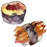 De reeks van waterverfsushi van mooie smakelijke Japanse voedselillustratie Hand getrokken die voorwerpen op witte achtergrond wo stock afbeeldingen