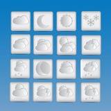 De reeks van weerpictogrammen van document Stock Foto's