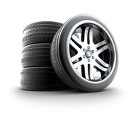 De Reeks van wielen die op wit wordt geïsoleerdt Stock Fotografie
