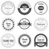 De reeks van wijnoogst dankt u kentekens, etiketten en stickers Royalty-vrije Stock Fotografie