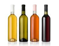 De reeks van wit, nam, en rode wijnflessen toe. Royalty-vrije Stock Foto's