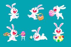 De reeks van wit Pasen-konijn in verschillend stelt Royalty-vrije Stock Afbeelding