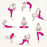 De reeks van yoga en pilates stelt symbolen Stock Foto's