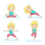 De reeks van yoga stelt Stock Foto