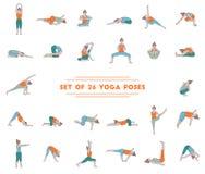 De reeks van yoga zesentwintig stelt royalty-vrije stock afbeelding