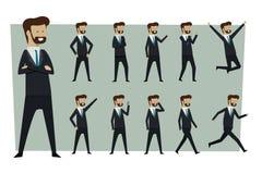 De reeks van zakenman in kostuum en status stelt met geïsoleerde rug stock afbeeldingen