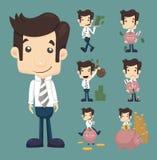 De reeks van zakenman maakt geldkarakters stelt vector illustratie
