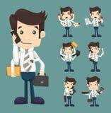 De reeks van zakenman met velen dient elegante kostuum het werk greep in Stock Foto's