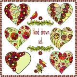 De reeks van zes overhandigt getrokken harten met bloemenkader Stock Afbeelding
