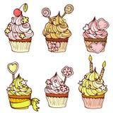 Getrokken hand zes cupcakes Stock Afbeelding