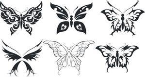 De reeks van zes stileert vlinder vector illustratie