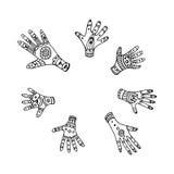De reeks van zeven overhandigt getrokken etnische palmen Stock Illustratie
