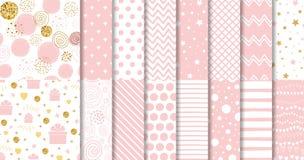 De reeks van zoet roze naadloos patroonroze stippelde vector van het het meisjes de geometrische siermalplaatje van de achtergron vector illustratie