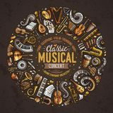 De reeks de vector klassieke muzikale instrumenten en voorwerpen van de beeldverhaalkrabbel verzamelde in een cirkelgrens Royalty-vrije Stock Afbeelding