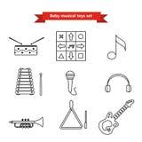 De reeks vectorpictogrammen van musical instrumen Vectorillustratie in een lijnstijl Stock Foto