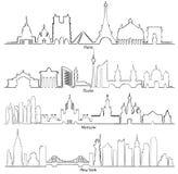 De reeks vectorsteden silhouetteert Parijs, Berlijn, Moskou en Nieuw Y Stock Afbeeldingen